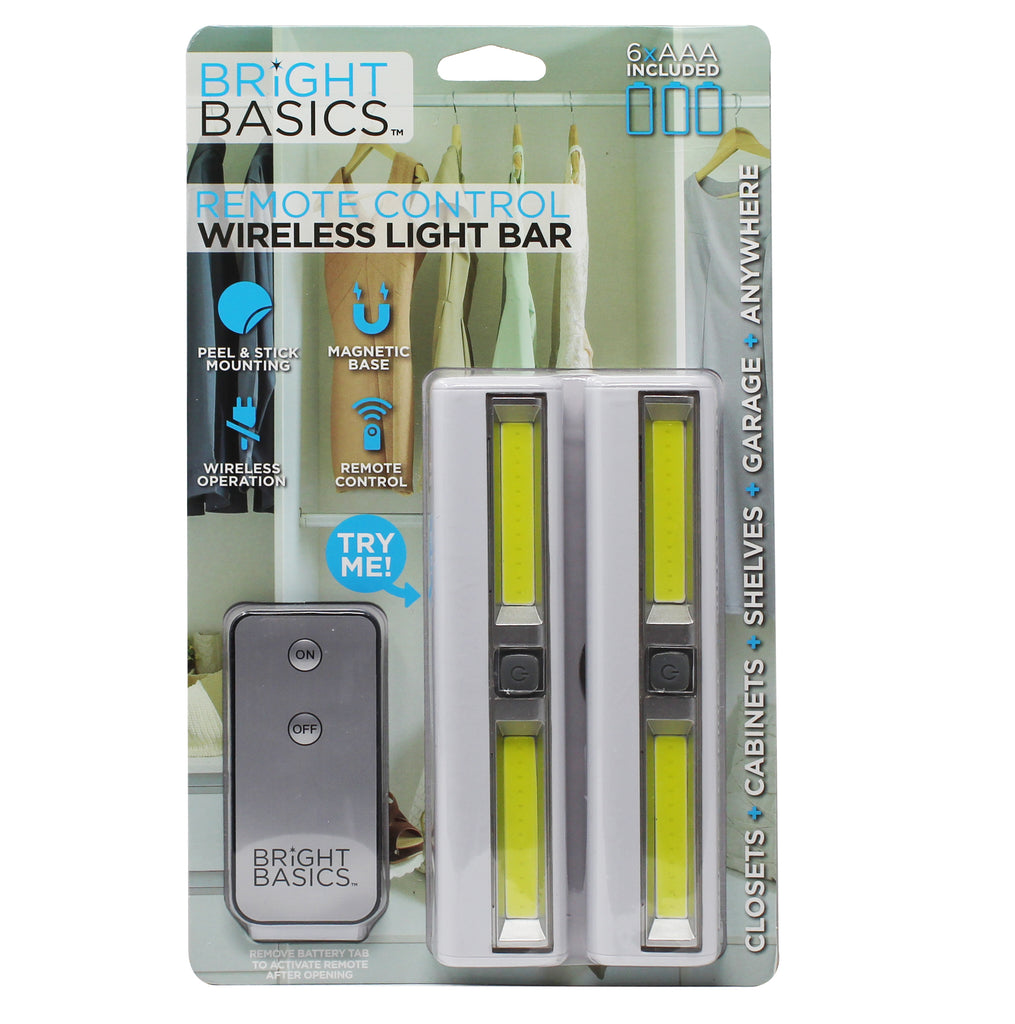 Bright Basics 2 Pack Ultra Bright Wireless Light Bars w/ Remote Control