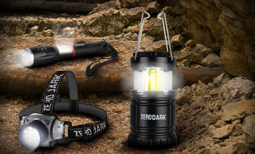 ZeroDark 3 Pc Tactical Set with Flashlight, Lantern, & Headlamp