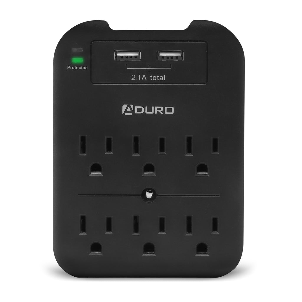 Aduro Surge Multi Station w/ 6 Outlets & Dual USB Ports & Phone Holder