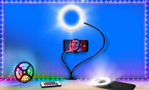 "U-Stream Selfie Studio Gift Set w/ 6"" Ring Light Stand, Selfie Clip Light & 6 Ft LED Light Strip"