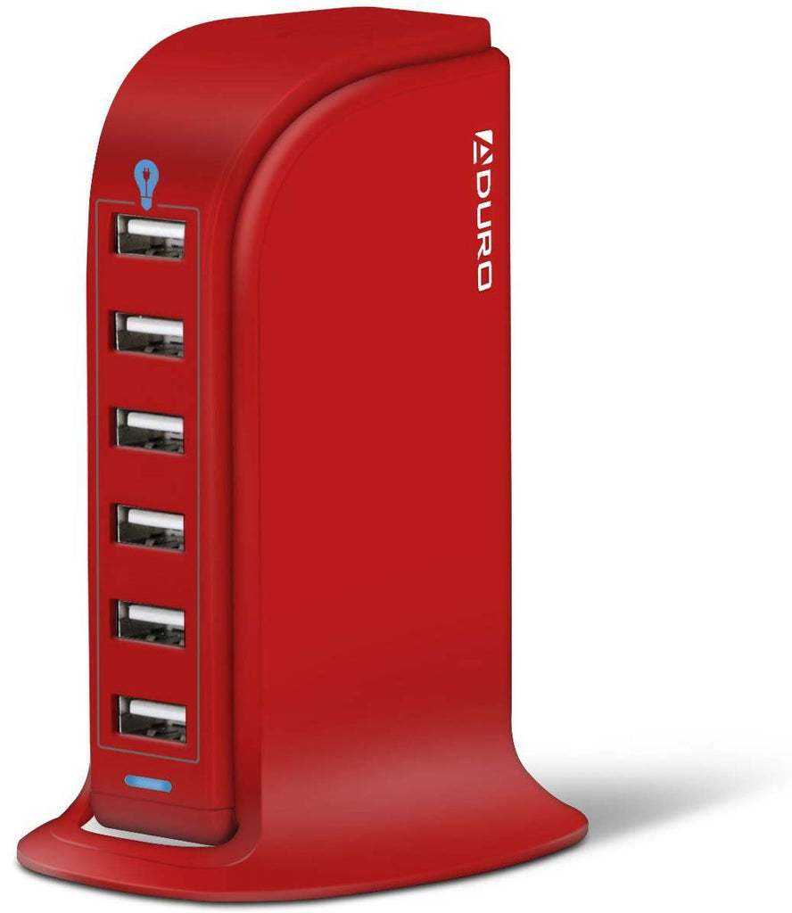Aduro 40W 8A 6-Port USB Desktop Charging Station Hub Wall Charger for Tablets and Smartphones with Smart Flow Technology