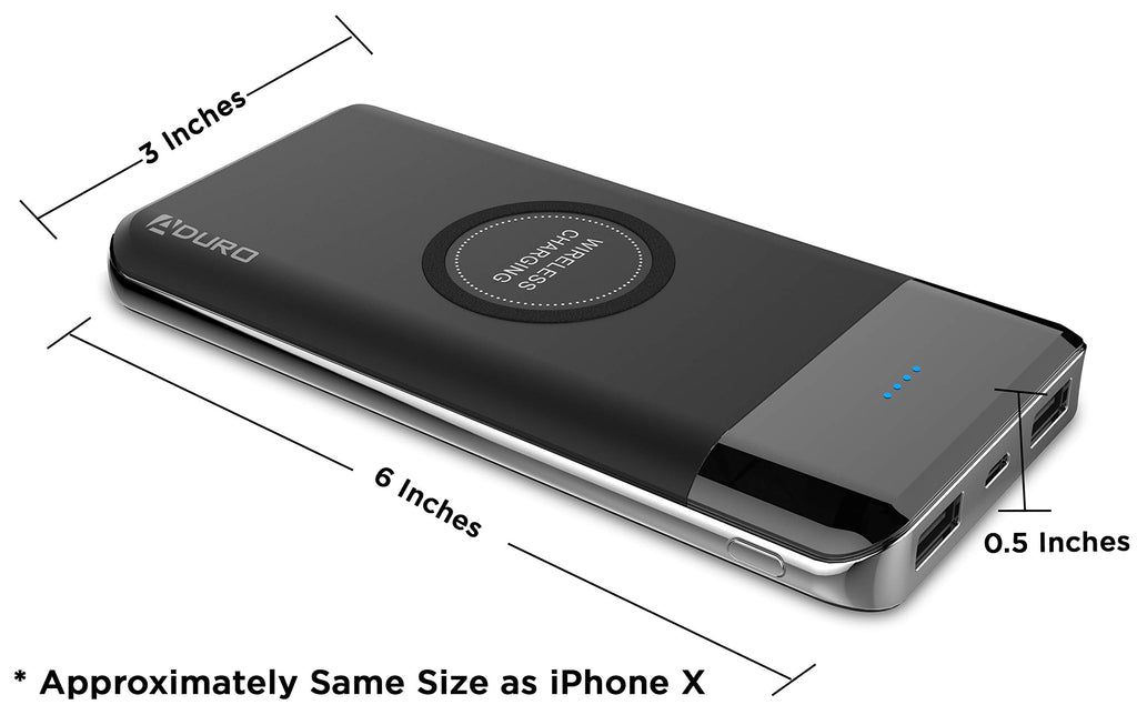 Aduro Wireless Power Bank, Dual USB 10,000mAh Portable Wireless Charger