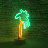 Hearth & Haven Palm Decorative Fluorescent Light Neon Signs Wall Decor Battery Operated