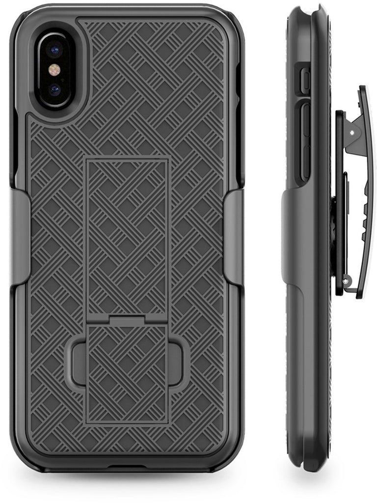 iPhone X Holster Case, Aduro COMBO Shell & Holster Case - Super Slim Shell Case with Built-In Kickstand, Swivel Belt Clip Holster for Apple iPhone X / iPhone 10 (2017) (Black)