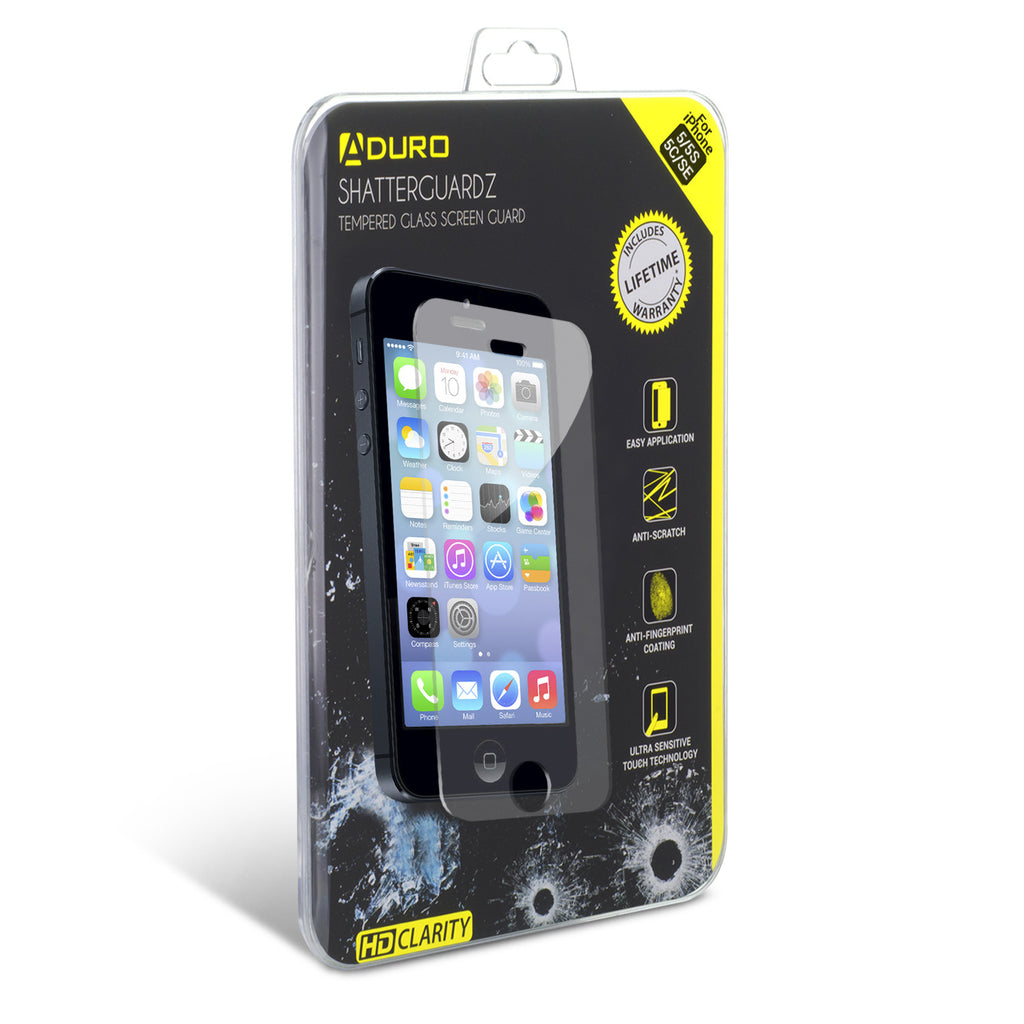 SHATTERGUARDZ Tempered Glass Screen Protector: iPhone 5 / 5S