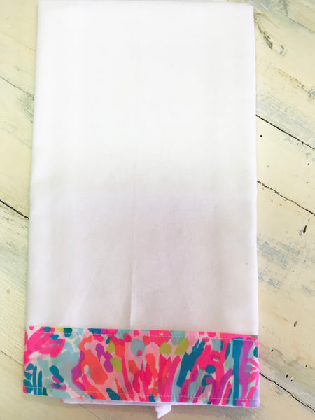 PS Collection: Lilly Pulitzer Inspired Kitchen Towel (White Towel with Border Design G)