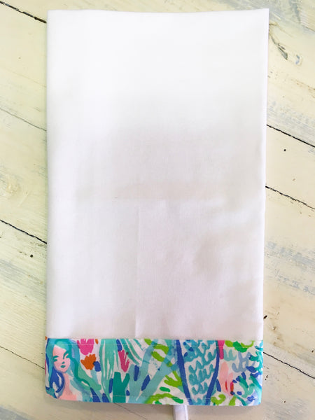 PS Collection: Lilly Pulitzer Inspired Kitchen Towel (White Towel with Border Design E)