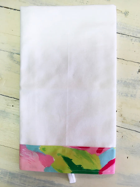 PS Collection: Lilly Pulitzer Inspired Kitchen Towel (White Towel with Border Design D)