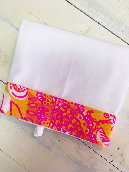 PS Collection: Lilly Pulitzer Inspired Kitchen Towel (White Towel with Border Design A)