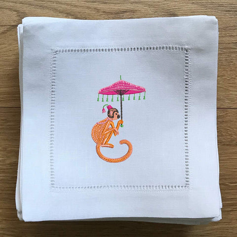 Chinoiserie Cocktail Napkin - Monkey with Umbrella - Happiest Shop Ever