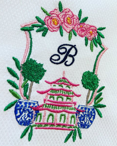 Chinoiserie Crest Guest Towel - Happiest Shop Ever