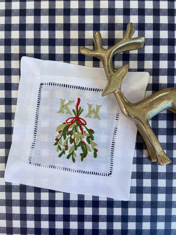 Christmas Special: Cocktail Napkins with Christmas Mistletoe Monogram - Happiest Inc.