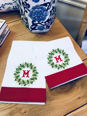 Christmas Special: Guest Towel with Signature Christmas Wreath Monogram - Happiest Inc.