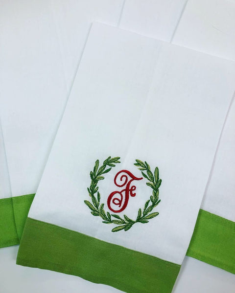 Christmas Special: Linen Guest Towel Signature Monogram (Green) - Happiest Inc.