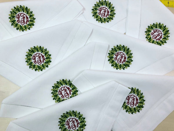 Christmas Special: White Dinner Napkins with Signature Christmas Wreath Monogram - Happiest Inc.