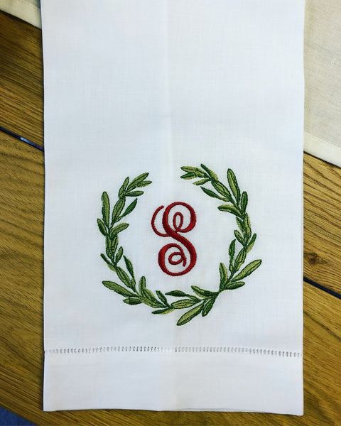 Christmas Special: White Linen Guest Towel with Signature Christmas Wreath Monogram - Happiest Inc.