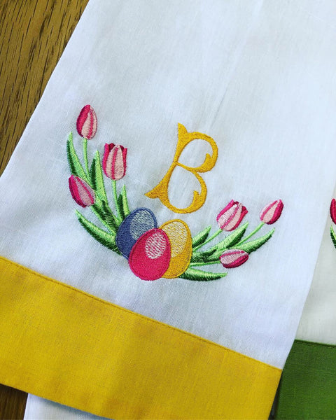 Easter Special: Personalized Monogrammed Linen & Cotton Guest Towels