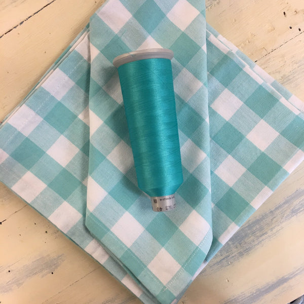 Monogrammed Dinner Napkins - Turquoise & White Plaid - Set of 6 - Happiest Shop Ever