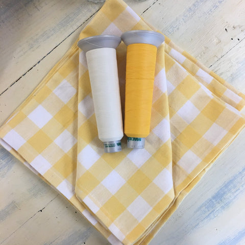 Monogrammed Dinner Napkins - Yellow & White Plaid - Set of 6 - Happiest Shop Ever