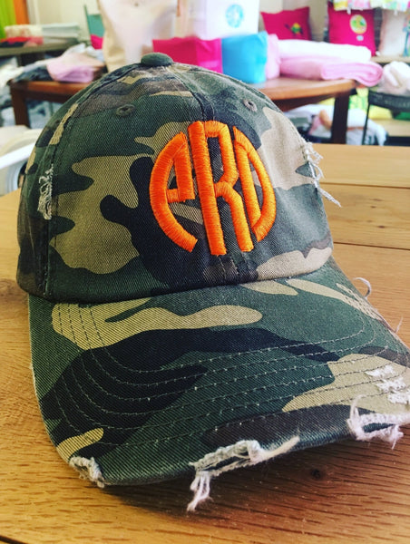 Monogrammed Distressed Fashion Hat (10 Colors) - Happiest Shop Ever