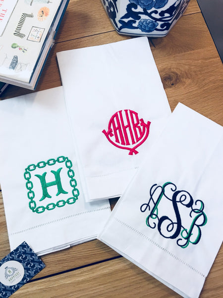 Monogrammed Hemstitched Linen & Cotton Guest Towel (White) - Happiest Shop Ever