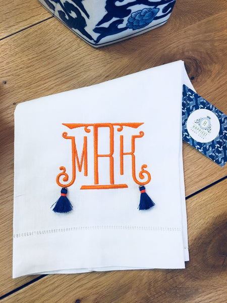 Monogrammed Hemstitched Linen & Cotton Guest Towel with Tassels - Happiest Shop Ever
