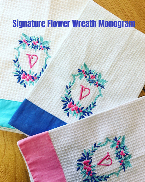 Monogrammed Waffle Guest Towel with Colorful Linen Borders (9 Colors) - Happiest Shop Ever