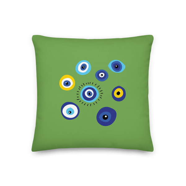 Negative Vibes Protection Pillow with Beautiful Evil Eyes (Green) - Happiest Shop Ever