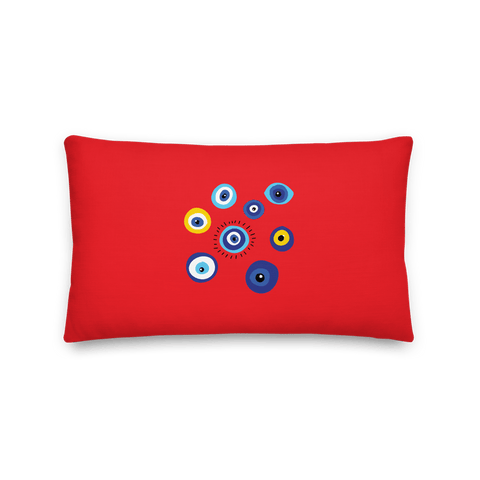 Negative Vibes Protection Pillow with Beautiful Evil Eyes (Red) - Happiest Shop Ever