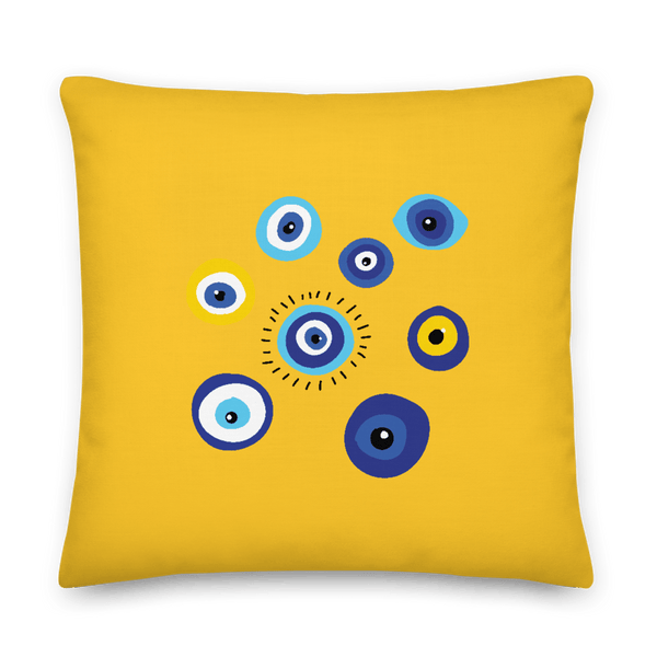 Negative Vibes Protection Pillow with Beautiful Evil Eyes (Yellow) - Happiest Shop Ever