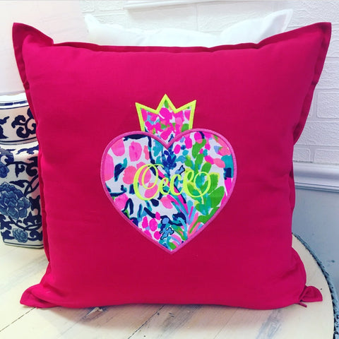 PS Collection: Lilly Pulitzer Inspired Pillow Cover with a Heart & Name - Happiest Shop Ever