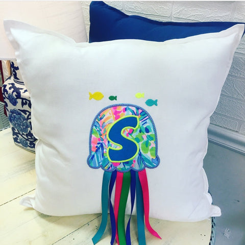 PS Collection: Lilly Pulitzer Inspired Pillow Cover with a Jellyfish - Happiest Shop Ever