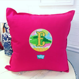 PS Collection: Lilly Pulitzer Inspired Pillow Cover with an Air Balloon - Happiest Shop Ever