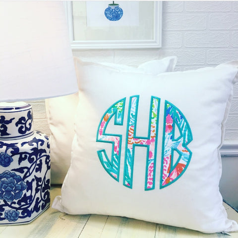 PS Collection: Lilly Pulitzer Inspired Pillow Cover with Circle Monogram - Happiest Shop Ever