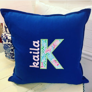 PS Collection: Lilly Pulitzer Inspired Pillow Cover with Name - Happiest Shop Ever