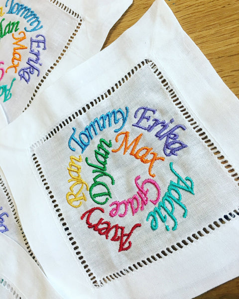 White Hemstitched Bespoke Design Cocktail Napkins for Grandma & Grandpa - Happiest Shop Ever