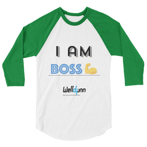 """I Am-BOSS"" 3/4 sleeve raglan shirt"