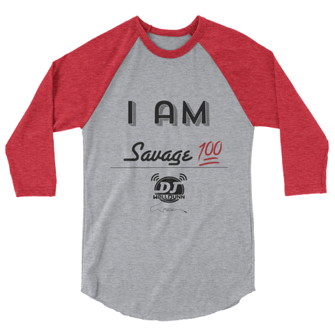 """I Am-Savage"" 3/4 sleeve raglan shirt"