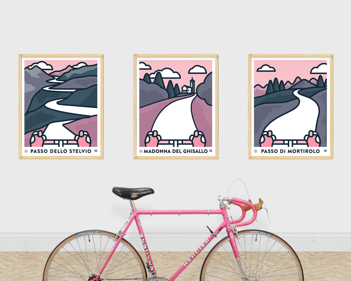 Giro 100 Art Prints - Stelvio, Ghisallo, Mortirolo