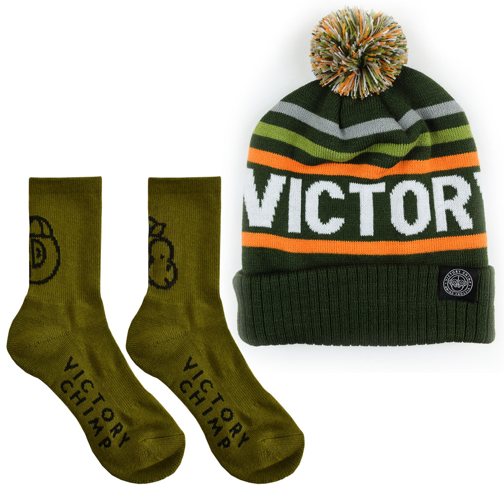 Bobble & Merino Sock Bundle (Olive Green)