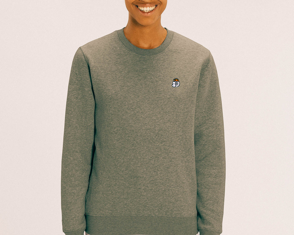 Chimpeur Unisex Organic Cotton Sweatshirt (Heather Olive Green)