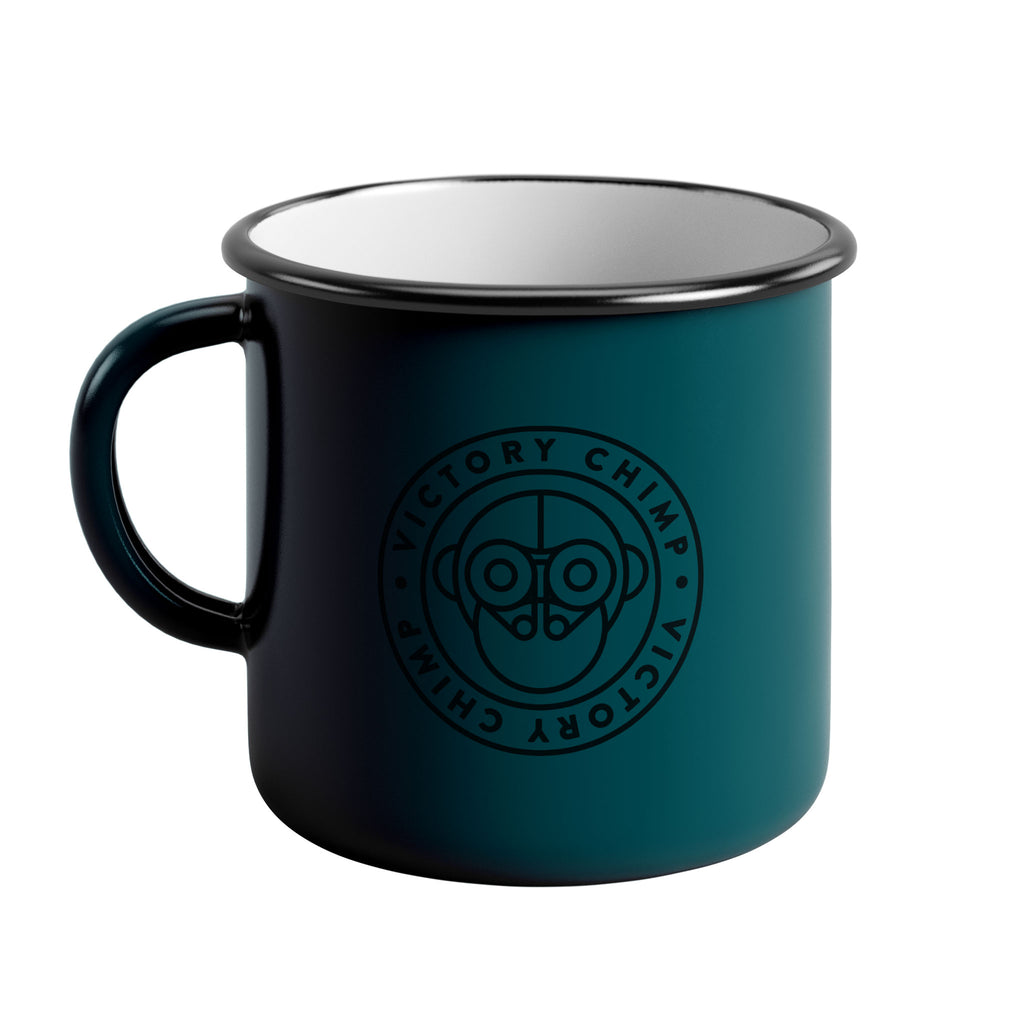Victory Chimp Enamel Mug (Teal) - Victory Chimp