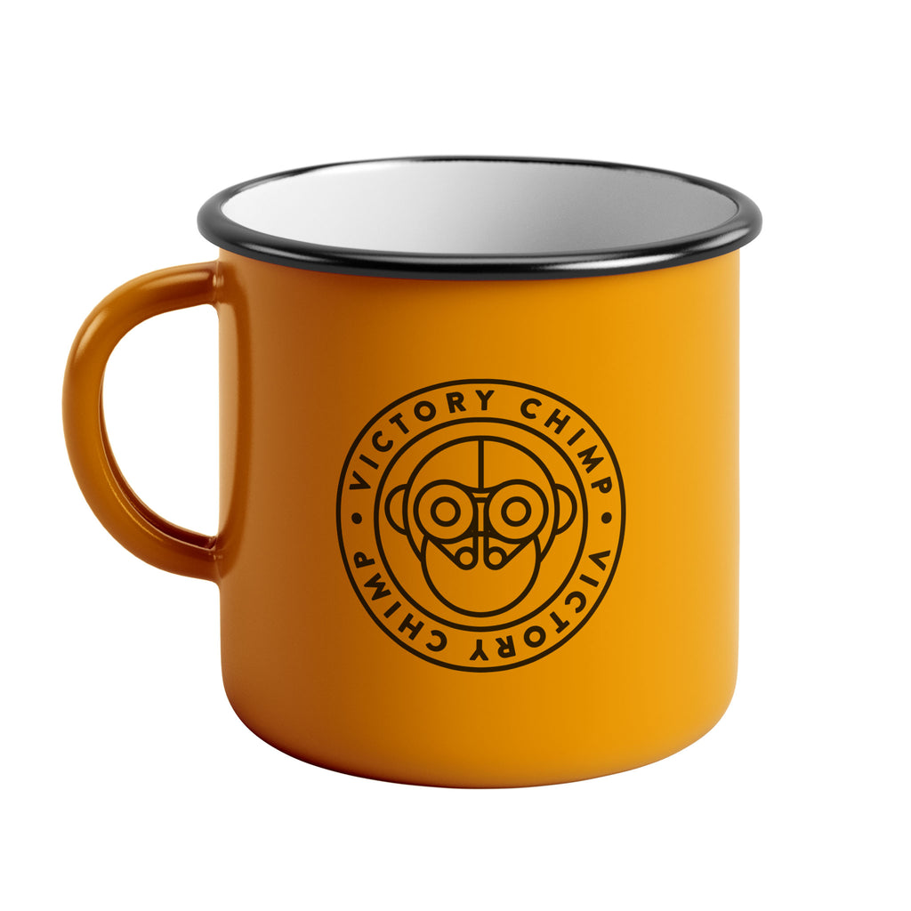 Victory Chimp Enamel Mug (Yellow)