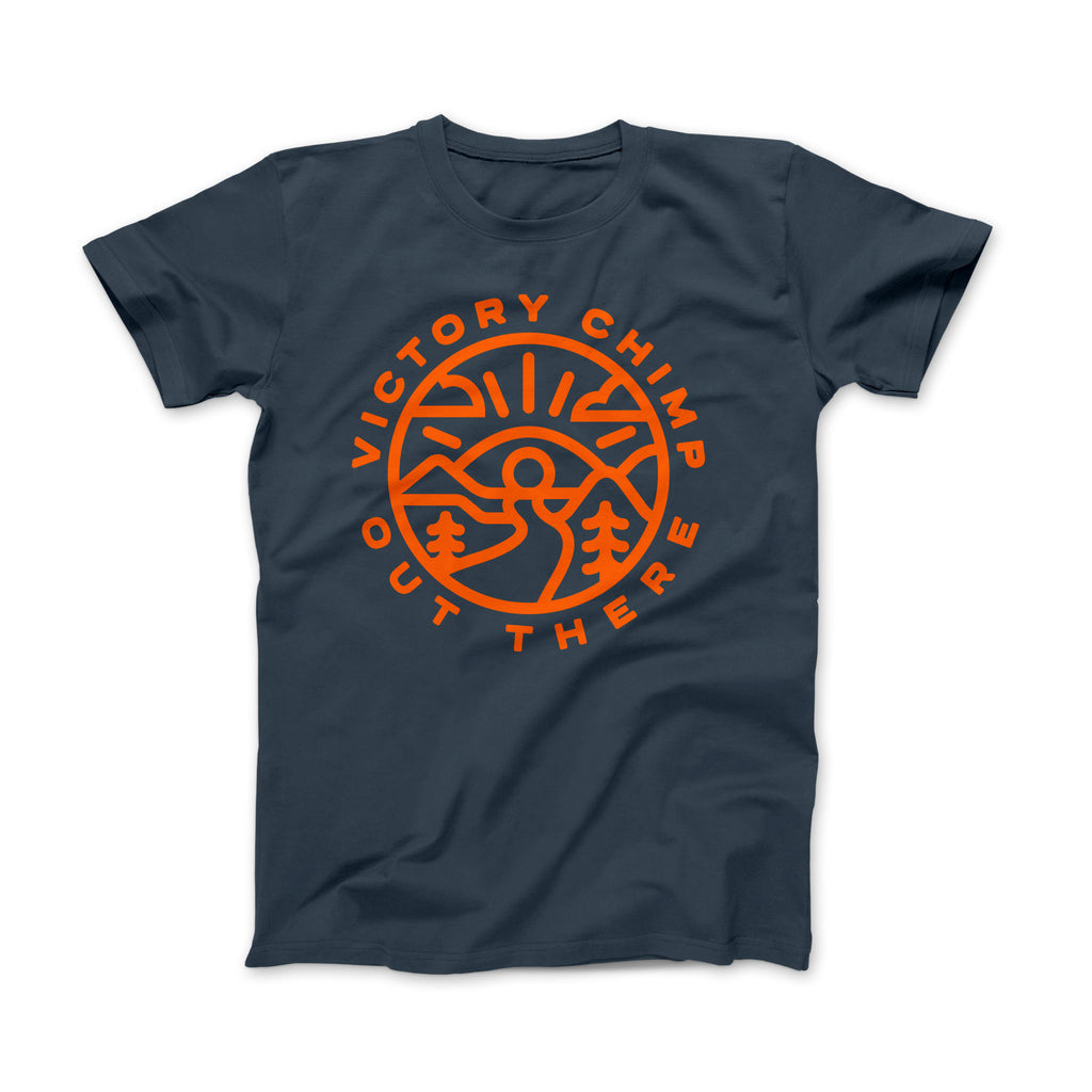 Out There Unisex Bamboo Gravel Cycling T-Shirt (Denim Blue)