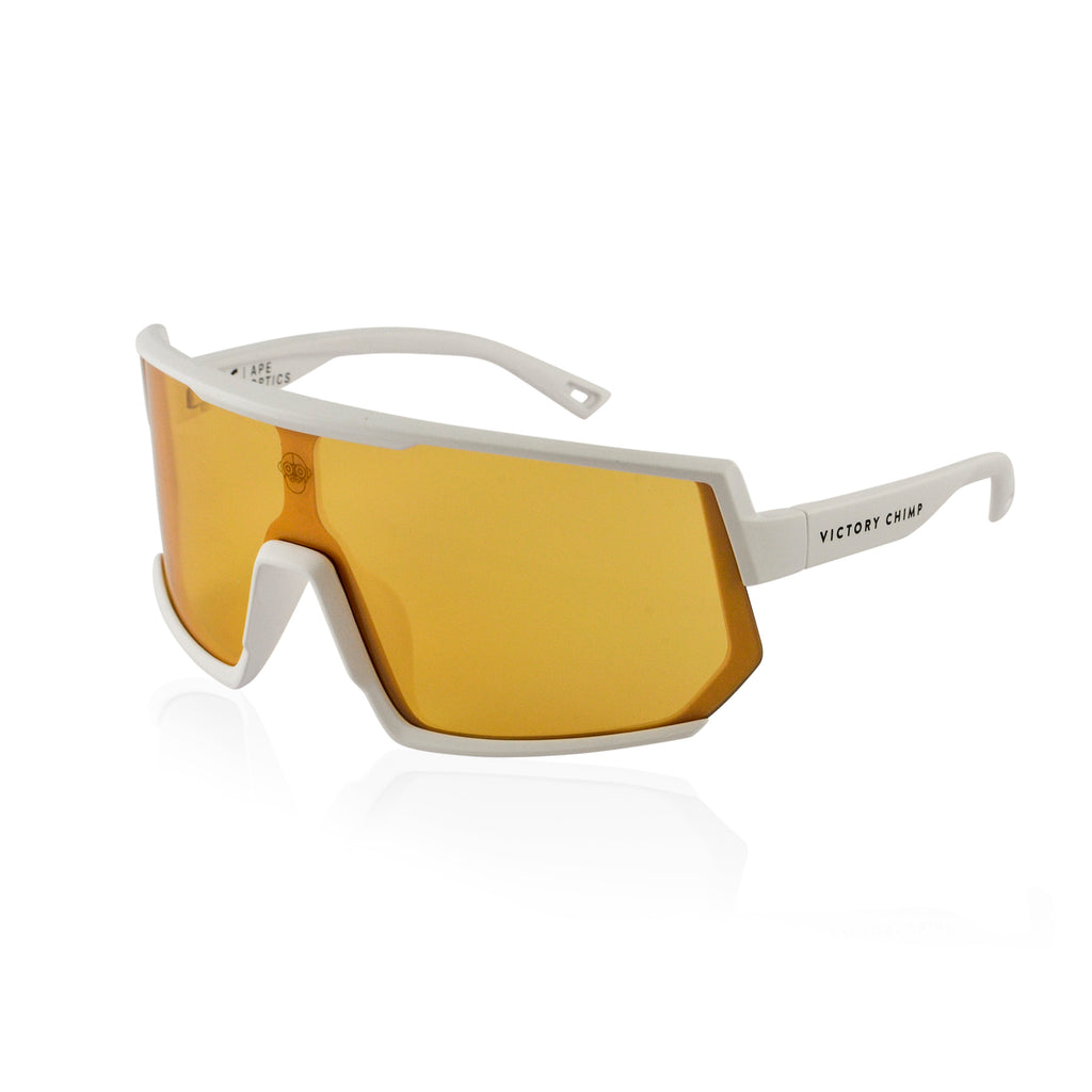 A.P.E. Optics Vega Sunglasses (Matte White w/ Bronze + Silver Mirror Lens)