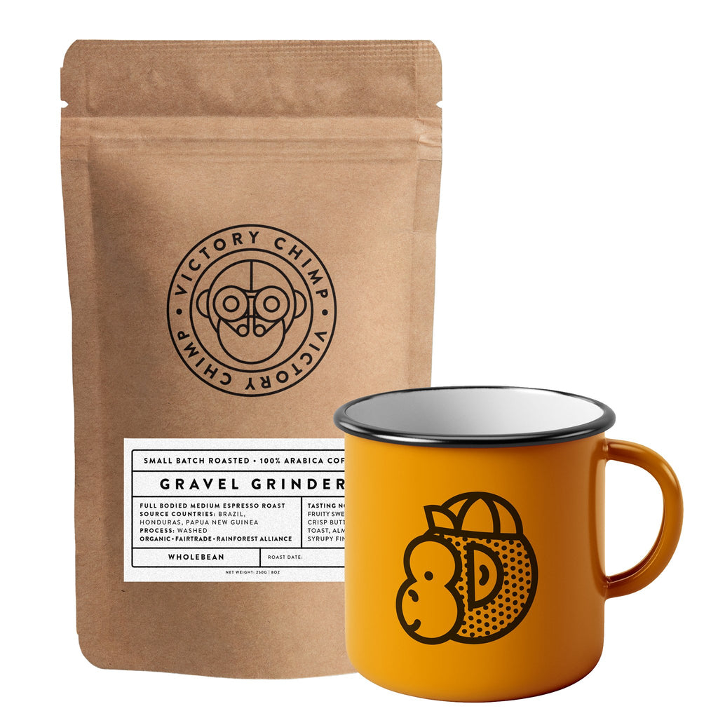 Victory Chimp Coffee + Enamel Mug Bundle