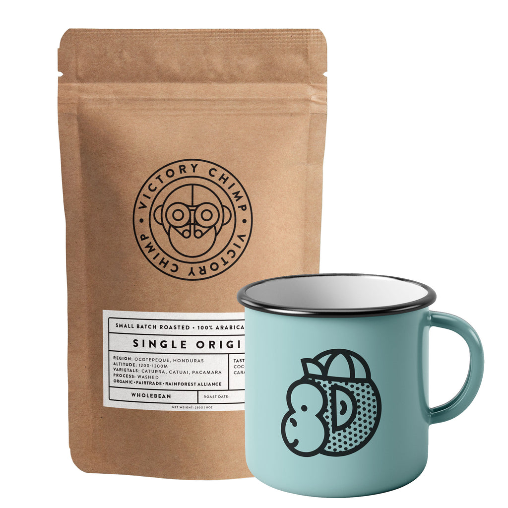 Victory Chimp Coffee + Enamel Mug Bundle (Single Origin Honduras)