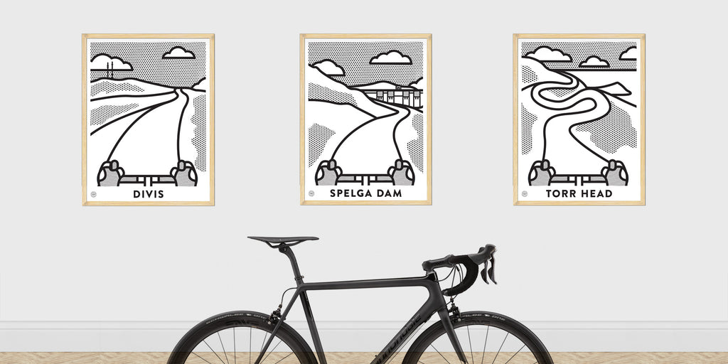 Up! Up! Up! Spelga Dam (Mono) Cycling Art Print - Victory Chimp