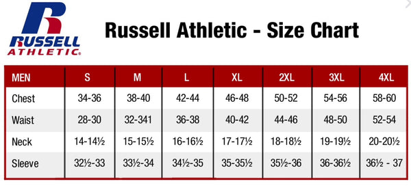 Size Chart Russell Mens / Tableau des tailles Russell Mens