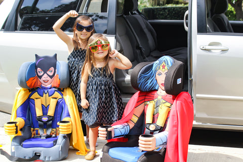 So We Thought These Sisters Would Be Thrilled To Ride In The Car Side By KidsEmbrace Batgirl And Wonder Woman Combination Booster Seats